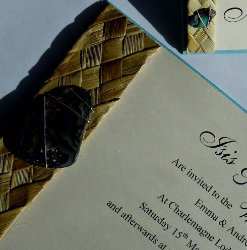 Silver Paua Diligo Bay Wedding Invite